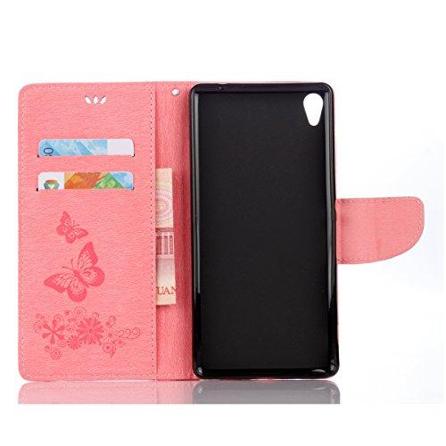 ISAKEN Custodia per Sony Xperia XA Ultra con Strap, Elegante borsa Tinta Unita Farfalla Design in Sintetica Ecopelle PU Pelle Protettiva Portafoglio Flip Case Cover con Supporto di Stand / Carte Slot  Farfalla: rosa