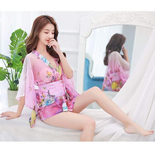 Seide Mutter Der Braut Kleider (OLLOLCCY Frauen Kimono Bademäntel Satin Morgenmantel Schmetterling und Blüten Schlaf Lounge Nachtwäsche Kurze Seide Braut Brautjungfer Robe,Pink)