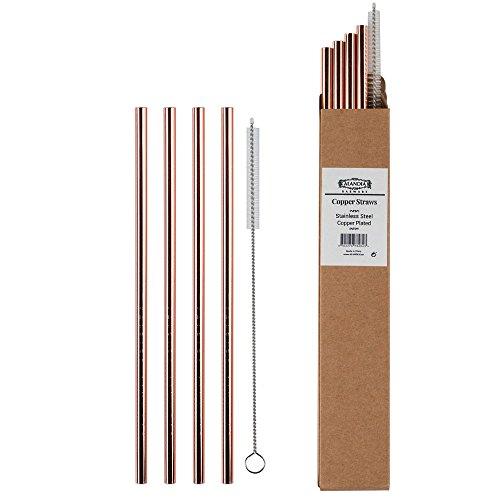 ALANDIA Premium Trinkhalm/Strohhalm aus Metall Ideal für Moscow Mule & Gin & Tonic   Edelstahl mit Kupfer (verkupfert)   Set mit 4X Strohhalm und 1X Bürste   Super Geschenk