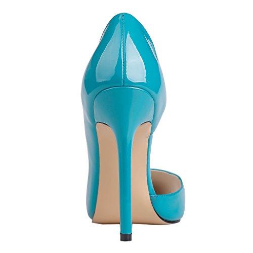 EKS Damen Slip-On Fashion Spitze Stilett Kleid-Partei Pumps Blau-Lackleder