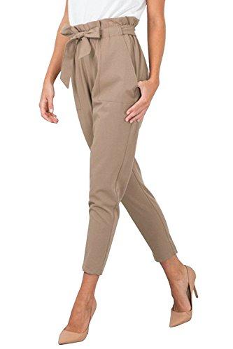 Minetom Damen Elegant Hohe Taille Hose elastischer Bund Mit Tunnelzug Schnüren Einfarbig Pants Businesshose Beiläufige Hell-Braun