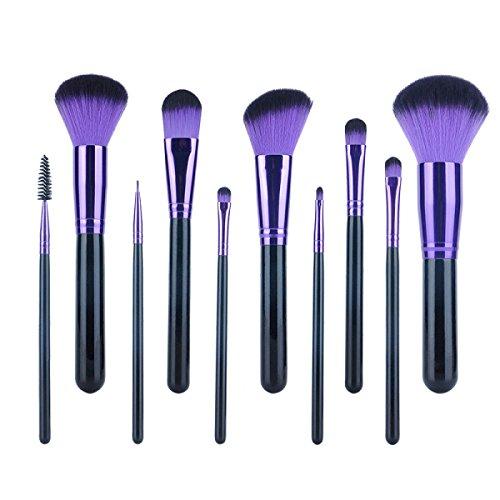 11 Pcs Maquillage Brush Set Maquillage Brosses Cosmétiques Outils Blush Professionnel Visage Fard à Paupières Brosse Ensembles Doux,BlackPurple