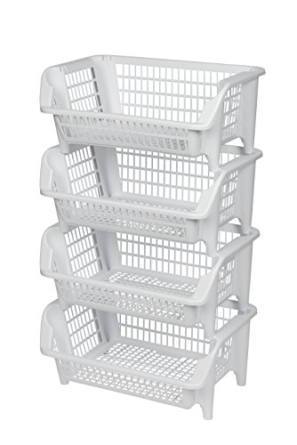 Regal bestehend aus vier stapelbaren Körben aus Kunststoff in Weiß. Stapel- und nestbar. Beliebig erweiterbar. Maße BxTxH 54,5 x 38 x 92 cm! (Regale, Körbe)