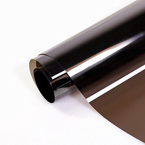verspiegelte Sonnenschutzfolie für Fenster, Sichtschutz und Hitzeschutz (blockt 80% der UV-Strahlen), Spiegelfolie braun, 76cm x 300cm, Fancy-Fix