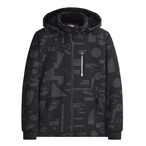 TIFIY Herren Winter Mode Druck Hoodie beiläufige Sport-Baumwolle verdickt Jacken-Mantel(Schwarz,EU 50/CN 4XL)