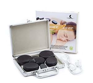 Pierres de massage: Compact pour pierres chaudes Hot Stone & Mallette de 8pierres en basalte (Sets avec chaleur Appareils)