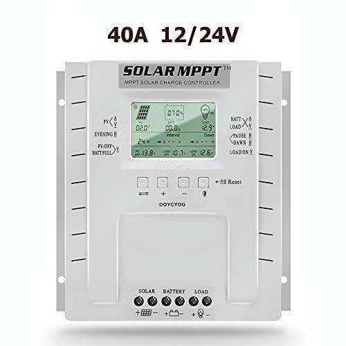 SolaMr 40A MPPT Solarladeregler 12V/24V Intelligenter Solarpanel-Batterie Laderegler mit LCD-Display und Doppeltem USB-Anschluss - P40A