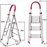 FJX Scala pieghevole a 3 gradini in lega di alluminio, battistrada antiscivolo in lega di alluminio leggera, portatile con piedini antiscivolo, scala pieghevole per uso domestico