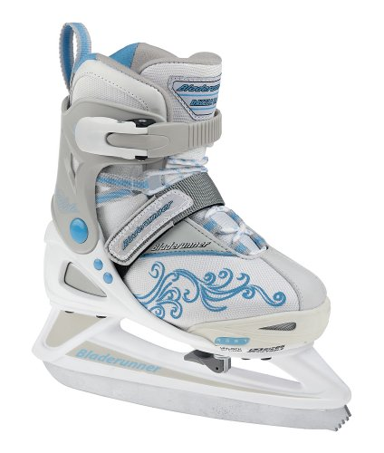 Rollerblade Bladerunner Girls Adjustable Phaser 4 Size Ice Skate (White/Light Blue, US 11j to 1) by Bladerunner