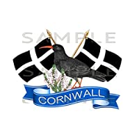 Totally Graphics Cornwall, Cornish Chough, Crossed Flag Sticker, Truck, Car, Motorhome, Van, Bike