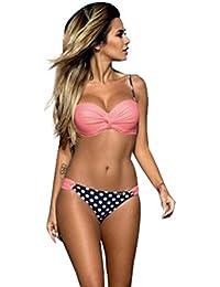 WanYang Mujer Push-up Bikini Conjunto Tira Puntos Traje de Baño Triángulo