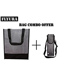 Flyura 1 Pocket Jute Tote Lunch Bag With Free Water Bottle Carry Bag Cover With Shoulder Strap (Grey & Black)