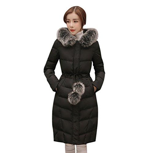 Niseng donna parka invernale con pelliccia down giacca con cappuccio moda cappotto lunga caldo spessore giubbotto cappotti nero 2xl