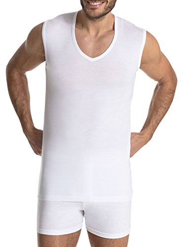 Finn Business Herren Unterhemd, Ärmellos mit V-Ausschnitt, Tank-Top aus feinsten Micro-Modal Fasern | S, Weiss, Weiß