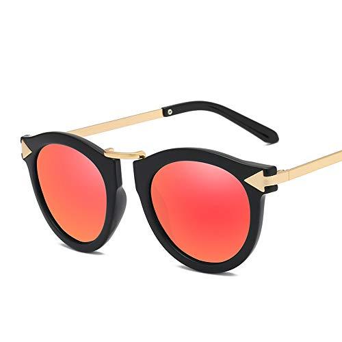 WULE-Sunglasses Unisex Frauen Männer Klassische Übergroße Vintage Shades UV400 Objektiv Mode Runde Sonnenbrille Für (Color : Rot, Size : Kostenlos)