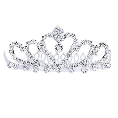 PIXNOR frizzante cristallo strass Corona Tiara cerchietto con pettine - ottimo per nozze Bridal Bridesmaid Prom (argento)
