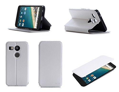 Etui luxe LG Google Nexus 5X 2015 Ultra Slim blanc Cuir Style avec stand - Housse coque de protection LG Google Nexus 5X - Prix découverte accessoires pochette XEPTIO : Exceptional case !