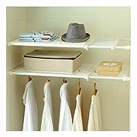 VANCORE *UPGRADED* Adjustable Storage Rack Wardrobe Cupboard Shelf Wardrobe Storage Organiser (NO Drilling), Width:42cm, Length:53~90cm