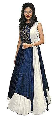 Gowns for women party wear long fancy silk embroidered semi-stitched Indo Western, Latest designer party wear salwar suits lehenga choli for wedding function, low price anarkali dress long kurti for girls (White)  available at amazon for Rs.444