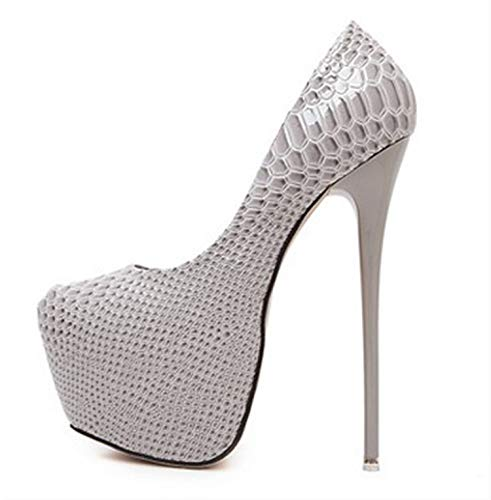 Rngtaqubeic New Snakeskin Pumps 16 cm High with Club High Heels Sexy High-Heeled Shoes Women Pumps Big Size 40 White 6