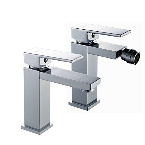 Auralum - Grifo WC Bidet Mezclador Bidé + Grifo Lavabo Monomando con Aireador Latón Cromado
