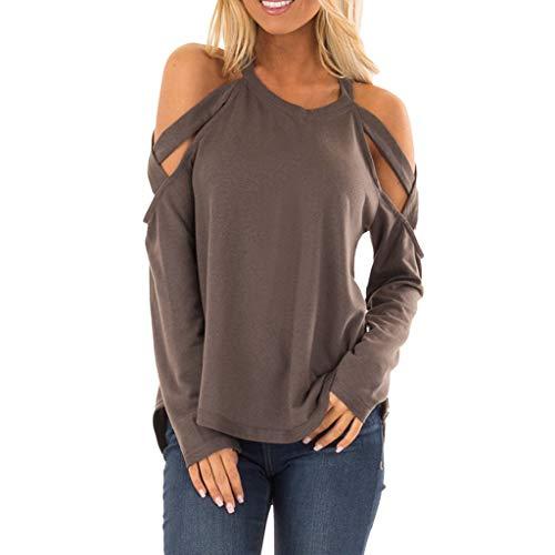 Geilisungren Damen Bluse Tägliche Freizeit Rundhalsausschnitt Langarm T Shirt Frauen Einfarbige Schulterfrei Blusen Pullover Tops Loose Fit Sweatshirt Basictop Oberteile -
