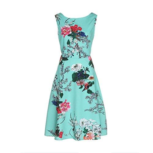 VENMO Frauen Sleeveless O Hals Shirts Gedrucktes Vintages Kleid-Abend Party Lässige Kleider (XXL, green) (Gedruckt Kleid Satin)