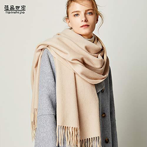 Agvbtqxzf scialle a scialle a tinta unita, colletto invernale per donna, imbottito, caldo, oversize, beige