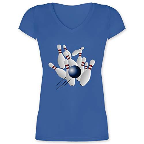 Bowling & Kegeln - Bowling Strike Pins Ball - XS - Blau - XO1525 - Damen T-Shirt mit V-Ausschnitt