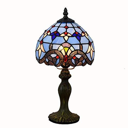 MTCTK Blaue barocke Tiffany Tischlampe Buntglasschlafzimmer Nachttischlampe 20 * 36CM