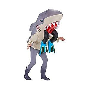 Original Cup - Disfraz Hinchable con Bomba de Aire USB, Traje Inflable Adultos para Fiesta, Conciertos, Halloween - Tiburón