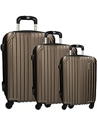 cde18869d 3 Maletas rígidas PIERRE CARDIN bronce 4 ruedas cabina para viajes VS216