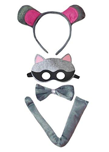 d Bowtie Schwanz Maske 4pc Kostüm Einheitsgröße Waschbär ()