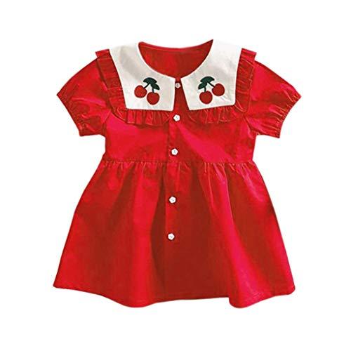 Alwayswin Baby Mädchen Party Prinzessin Kleider Kleinkind Kinder Kirsche Süß Revers Strickjacke Kleid Stickerei Rot Kurzärmliges Kleid Rundhalsausschnitt A-Linien Kleid