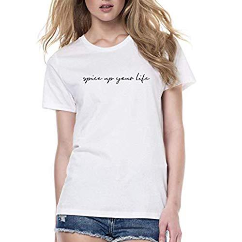 Yvelands Damen Mode T-Shirt Kreis Kragen gedruckt mit kurzen Ärmeln Mode komfortable Bluse Top(Weiß,L)