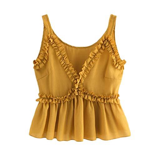 CUTUDE Damen T Shirt, Bluse Kurzarm Plus Size Sommer Frauen Mode Sexy V-Ausschnitt Volltonfarbe Sling Kurze Ärmel Rüschen Weste Tops Bluse Tank Weste Oberteil 2019 (Gelb, ()