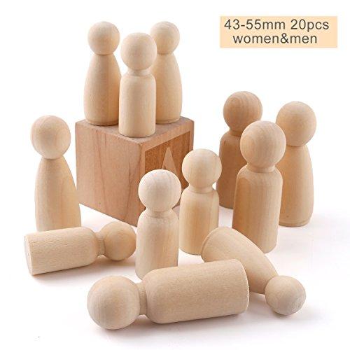 baby tete 20Pcs Peg Dolls of Male Famille Membres (43mm / 55mm) Mariage Cake Doll Décor Non peint À la main fait à la main Enfants DIY Montessori Toys