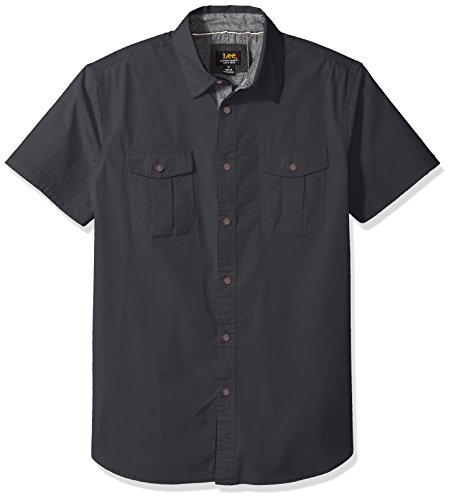 Preisvergleich Produktbild Lee Herren Camp Shirt Button Down Hemd,  Ebenholz,  4X-Groß