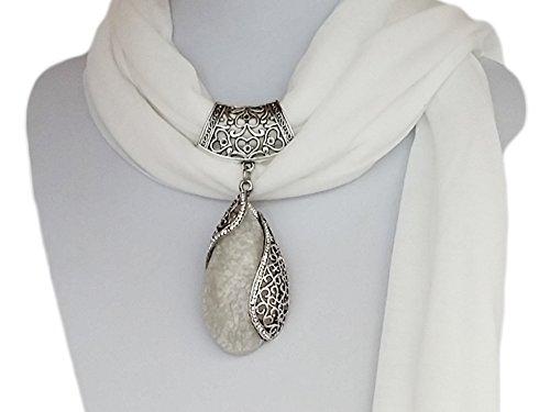 """La Loria Pendentif Châle Echarpe Collier pour femme """"Elegant Embrance"""" bijou écharpe avec pendentif Blanc"""