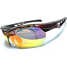 Eavier Protección UV400 Gafas de Sol Polarizado Deporte al Aire Libre Gafas Ciclismo Correr Pesca Conducción Escalada Esquí Viaje Senderismo con 5 Lentes y Case de Gafa para Hombre y Mujer . (Negro+Rojo)