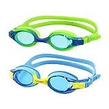 VETOKY Kinder Schwimmbrille, Antibeschlag Schwimmbrillen UV Schutz Kristallklare Sicht kein Auslaufen für Mädchen und Jungen Altersgruppen 3-10 Jahre Blau+Grün