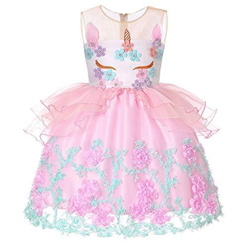 zessin Weihnachten Kleid Mädchen Einhorn Kleid ärmellose Prinzessin Kleid Kinder Party Kostüme Halloween Schicke Party (Größe : 3T) ()