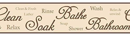 BHF FDB50034 Bordüre für Küche und Bad, mit Aufschrift in englischer Sprache, selbstklebend, Schokoladenbraun/Natur