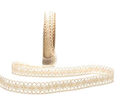 TrendLine Schleifenband Spitze 10m x 10mm Creme Spitzenborte Dekoband Borte - 1 Spitzenband