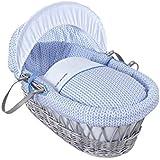 Cesta Clair de Lune Barley Bébé para bebés, de mimbre y color gris con ropa de cama, colchón y capucha ajustable (azul)