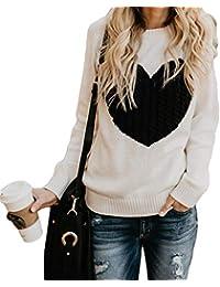 kunfang Mujer,Amor patrón ins Cuello Redondo de Manga Larga otoño e Invierno Suelta acrílico suéter Jersey suéter
