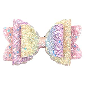 Cfangan Durable Rainbow Children's Bow Haarnadel Artificial Leather Seven Color Sequins Swallowtail Baby Hair Accessories (9.2 * 4.7cm)
