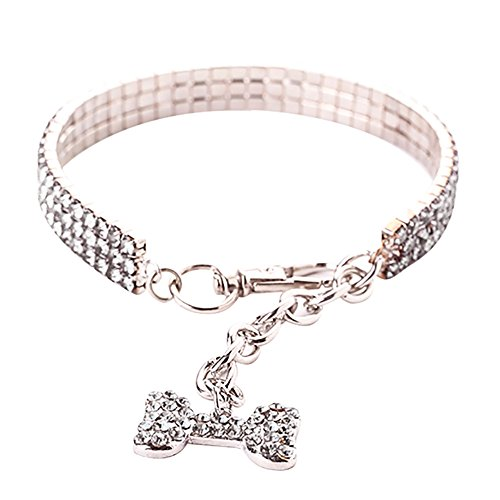 TAOtTAO Pet Necklace Nette Mini Hund Bling Strass Halsband Halsbänder Fancy Dog Halskette (Silber, M) -