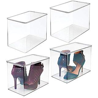 mDesign 4er-Set Schuhaufbewahrung aus Kunststoff - stapelbarer Schuhkasten für hohe Schuhe oder mit Absatz - für High Heels, Pumps und Boots - Schuhkiste für den Flur oder Schrank - durchsichtig