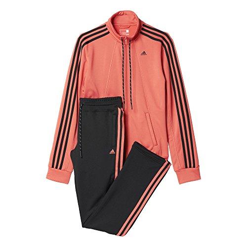 adidas Damen Trainingsanzug ESS 3S SUIT, Rosa/Schwarz, M/S, 4055343975825